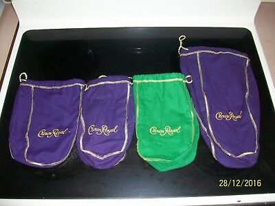 Crown Royal Bags Lot of 4 Various Colors 3 Larger Ones and 1 half gallon