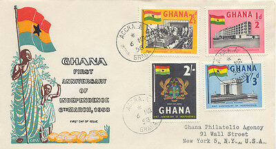 """2019 GHANA 19581st Anniversary of Independence R-FDC with CDS """"ACCRA.A"""" to USA"""