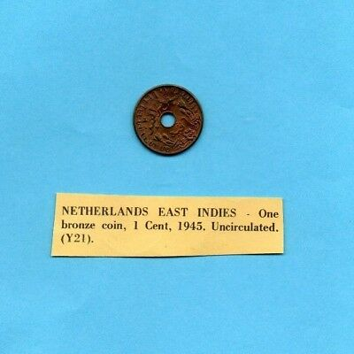 Netherlands East Indies 1 Cent 1945 Uncirculated Bronze Coin