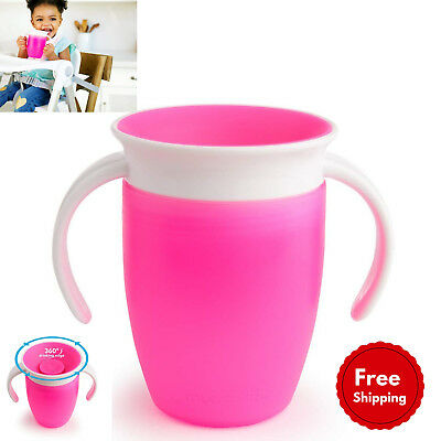 Trainer Cup for Girls, Munchkin Miracle 360 Degree 7 oz/207 ml, Pink