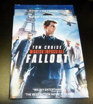 MISSION:IMPOSSIBLE FALLOUT(BLU-RAY+DVD+DIGITAL)W/SLIPCOVER brand NEW