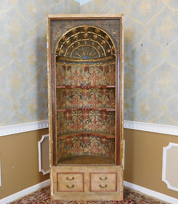 Antique 18th Century European Polychrome Shell Form Cabinet w/ Recent Casing