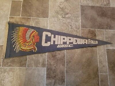 (L@@K) 1930s chippewa falls Wisconsin pennant with indian chief rare