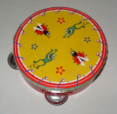 Vintage Childs Tambourine with Frogs and Ladybirds Flowers Painted Design