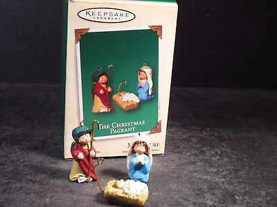 Hallmark Miniature 3pc Ornament 2003 THE CHRISTMAS PAGEANT Holy Family