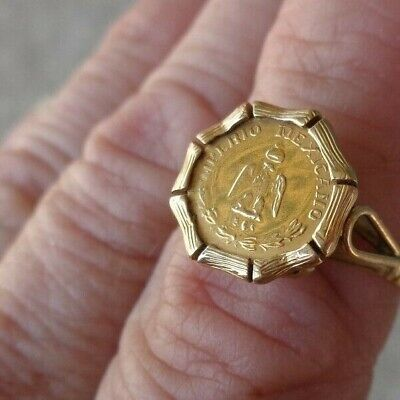 VINTAGE 14K GOLD SIGNET MOUNTING W/ MEXICAN 1865 MINI COIN LADIES RING sz6.75
