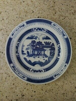 Vintage porcelain blue and white pagoda plate