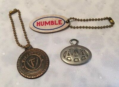 3 Vtg ADVERTISING AUTOMOTIVE KEYCHAINS FIRESTONE TIRE, HUMBLE ESSO GASOLINE AAA