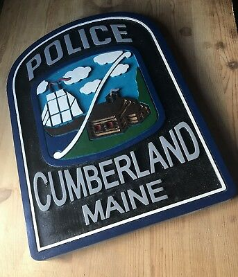 Police Cumberland Maine  3D routed wood patch sign plaque Custom