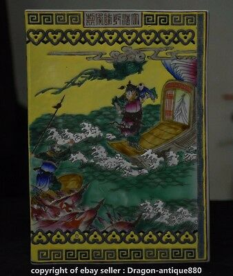 """10"""" Rare Qianlong Marked Chinese Wu Cai Porcelain Dynasty Warrior Fight Books D"""