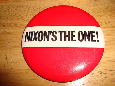 "NIXON'S The ONE ! 3"" Richard Nixon presidential campaign button Adcraft chicago"