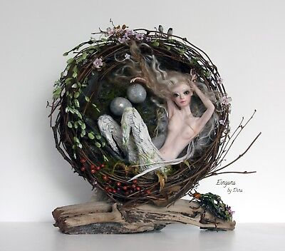 'Eingana' bird-woman - OOAK art-doll sculpture by Dina (32cm)