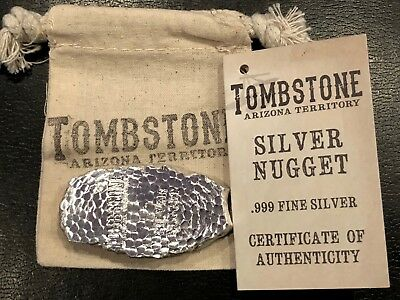 5 Oz Silver Bar - Tombstone Silver Nugget W/canvas Pouch And Coa!