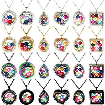 32 Style Beads Cage Glass Locket Pearl Cage Floating Pendant Gift Charms Chain