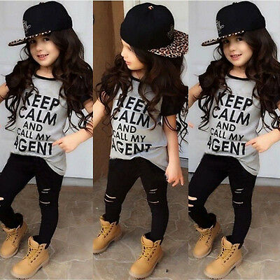 Fashion Kids Baby Girls Clothes Tops T-shirt Pants Leggings Outfits Set Age 2-7Y
