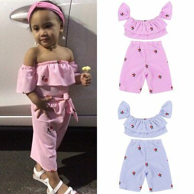 Pretty Toddler Kid Baby Girl Off Shoulder Ruffle T Shirt Top +Pants Outfit Set