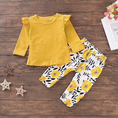 2pcs/set Baby Toddler Girls Long Sleeve T-Shirt Top+Floral Pants Pretty Set