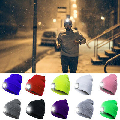 UK Fashion Men LED Beanie Hats With Button Battery 5 Hours High Powered Light