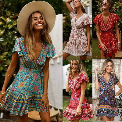 AU Women Boho Floral V Neck Wrap Mini Dress Ladies Summer Holiday Party Sundress