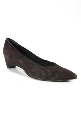 a92f76c220e85 Stuart Weitzman Womens Pumps Size 8.5 Brown Suede Low Heel Pointed Toe