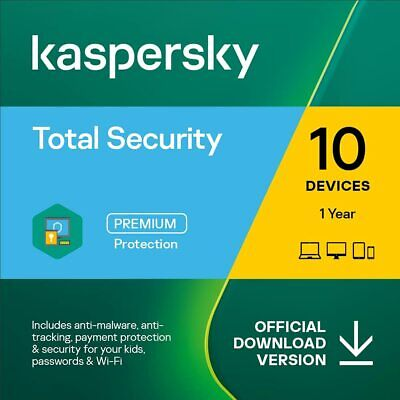 Kaspersky Total Security 2020 for 10 PCs Devices 1 Year EU Emailed Download Key
