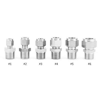 304 Stainless Steel Pipe Fitting 1/2 NPT Male Straight Thread Adapter Connector