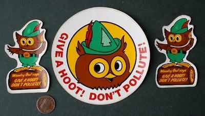 1970s Era US Forestry Service Woodsy Owl souvenir THREE sticker set-VINTAGE!
