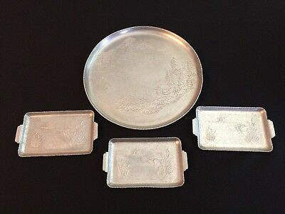 "4 Vintage Hammered Aluminum Trays Serving Tray 11"" Oriental 3 Individual Geese"