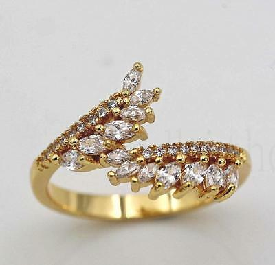18K Yellow Gold Filled Claw Finger Ring Clear Topaz Zircon Leafs Size7 8 9 Lady