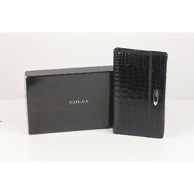 Authentic Gilli Black Embossed Croc Look Leather Address Book Agenda
