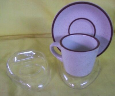 "Store Display Fixtures 6 NEW CUP & SAUCER DISPLAY STANDS CLEAR 5"" x 4"""