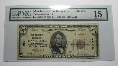 $5 1929 Manchester New Hampshire NH National Currency Bank Note Bill Ch. #1059