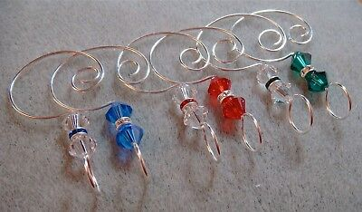 =^..^= 6 Crystal Ornament Enhancers Hooks made by me w Swarovski Beads car & rgb