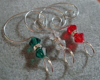 6 Crystal Ornament Enhancers Hooks made by me w Swarovski Beads Clr Red Grn Slvr