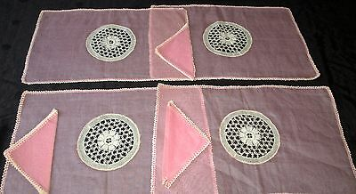 fine antique Madeira set, pink organdy w lace, runner, 4 mats, 3 napkins lovely!