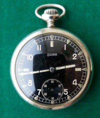 Rare Military Pocket Watch German Army SILVANA DH of period WW2 SWISS MADE