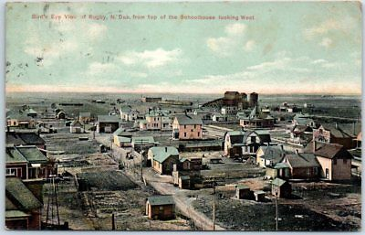 Rugby, North Dakota Postcard Bird's-Eye Panorama Town View w/ 1909 Cancel