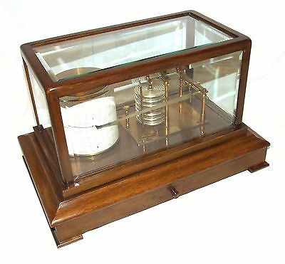 Antique Oak Cased Barograph with Bevelled Glass & Chart Drawer : Working Order
