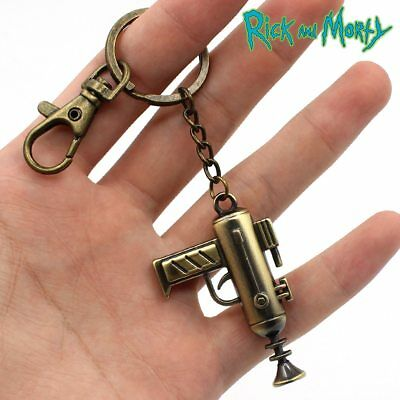 Rick and Morty Portal Machine Gun Weapon Gold Metal Keychain