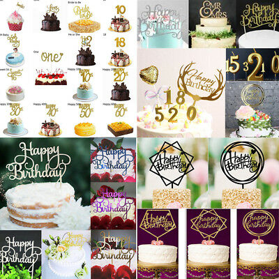"""Creative Cake Topper """"Happy Birthday""""10th-60th Candle Party Supplies Decorations"""