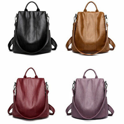 Soft Leather Tote Casual Backpack Anti Theft Ladies Daypack Stylish Shoulder Bag