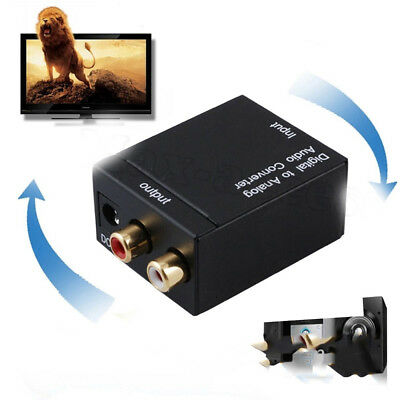Optical Coaxial  Digital to Analog Audio Converter Adapter RCA L/R 3.5mm Black