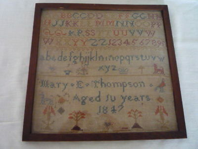 Antique 19th C English Framed Embroidery Sampler Mary E Thompson 1847 Age 10