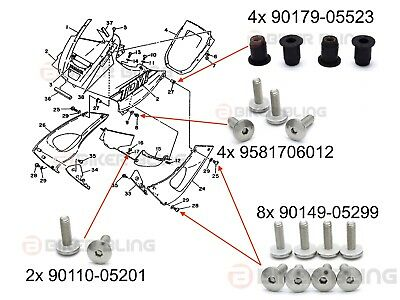 14x Yamaha TDM 850 1991-1995 front side fairing bolts & 4x rubber well nuts kit