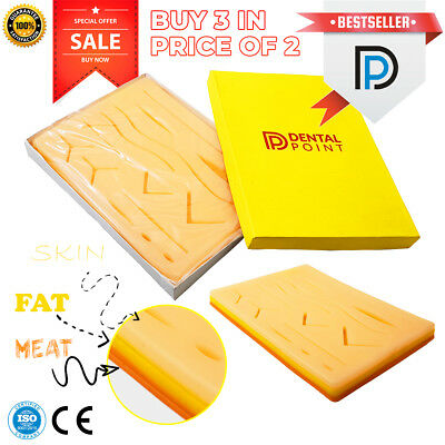 3x Medical Suture Training Pad 3 Layers of Skin, Fat & Muscle with Pre-Wounds