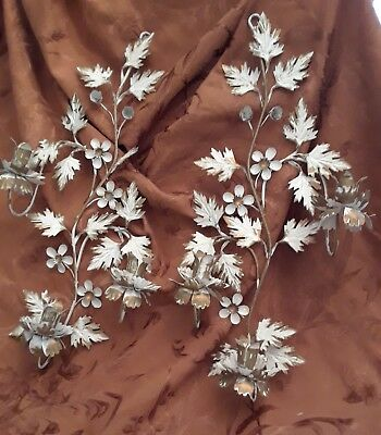 2  Vintage Metal Candle Holder Wall Sconce W/ Leaves & Flowers