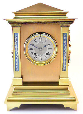 C.1873 J.w. Benson Antique Brass Mantle Clock Inset Wedgwood Columns Eight Day
