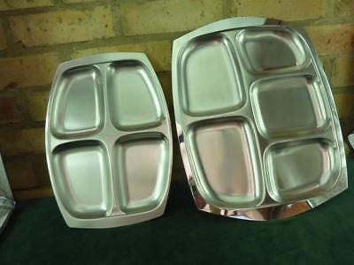 Two Cavalier stainless steel compartment serving trays Hors d'oeuvre