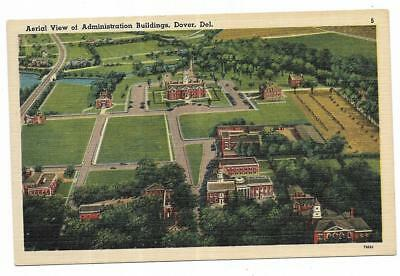 Vintage Delaware Linen Postcard Dover Aerial View of Administration Buildings