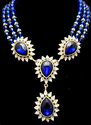 "Huge Rare Vtg 16x4"" Signed Graziano Blue Glass Rhinestone Statement Necklace A67"